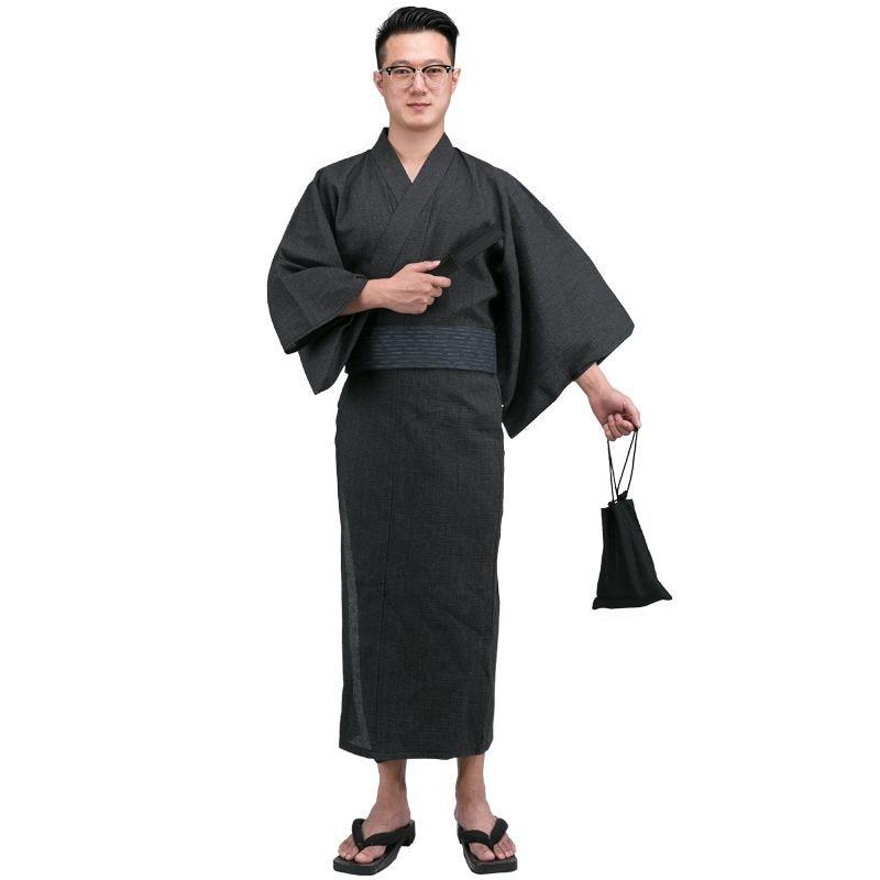 Autumn Traditional Japanese Kimono with Obi and bag Mens ...