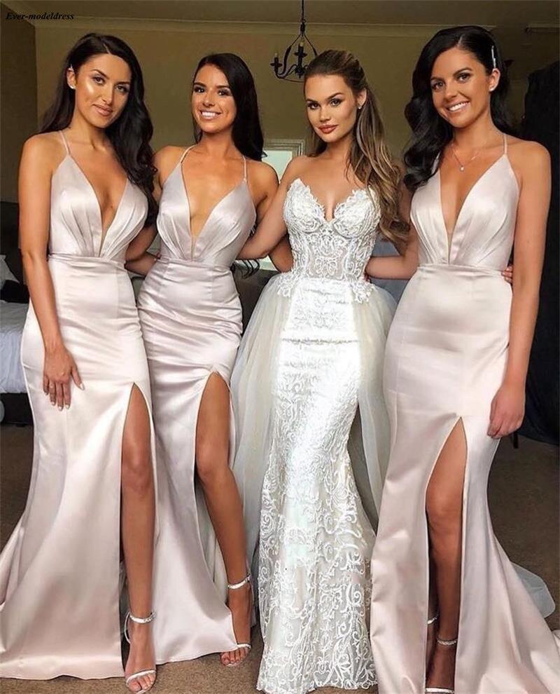 Sexy Deep V-Neck   Bridesmaid     Dresses   Mermaid Long 2019 Sleeveless Summer Boho Beach Maid Of The Honor   Dresses   With Slit Cheap