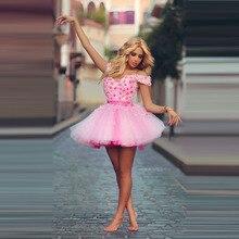 Chic Romantische Kurze Saudi-arabien Cocktailkleider Rosa Ballkleider Blumenhandgemachte Liebsten Prinzessin Ärmeln Kleid Zum Party