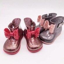купить Mini Melissa Kids Rain Boot Original 1:1 Girls Boots 2019 New Girls Jelly Sandals Kids Rain Boots Toddler Shoes Waterproof дешево