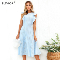 ELSVIOS Sexy Patchwork Lace Summer Dress Women Ruffles Midi O Neck Female Tunic 2018 A Line