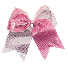 Adogirl 7 Shinny Hair Accessories Multi Colors Ribbon Custom Embroidery Logo Bows with Elastic Bands for Girls