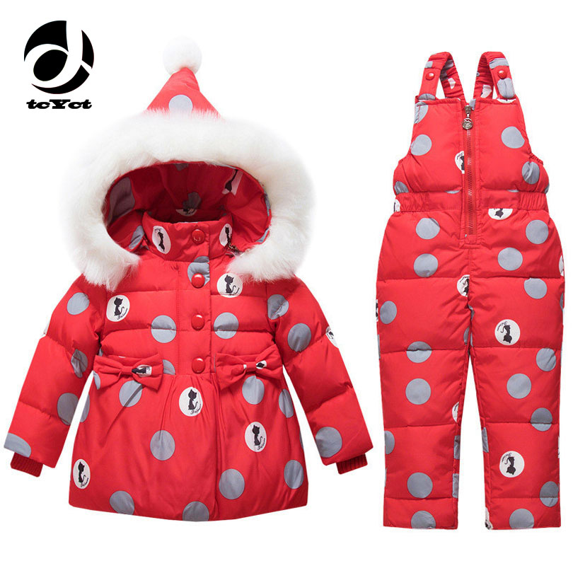 tcYct Baby Girl Winter Clothes Sets Hooded Down Jacket Bow Print Overalls Jumpsuits Snow Wear Children Toddler Clothing 2016 winter boys ski suit set children s snowsuit for baby girl snow overalls ntural fur down jackets trousers clothing sets