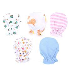 5 пар, перчатки для новорожденных, зимние хлопковые перчатки, всесезонные мягкие защитные перчатки для младенцев, варежки анти-царапки для мальчиков и девочек