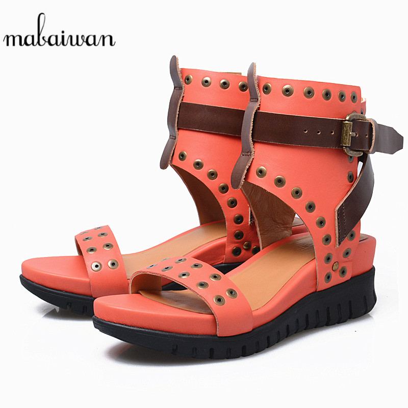 Mabaiwan Red Women Shoes Open Toe Rivet Summer Sandals Casual Platform Wedge Buckle Shoes For Woman Gladiator Breathable Sandals mabaiwan women shoes genuine leather summer sandals casual platform wedge shoes woman rivets gladiator wedges breathable sandal