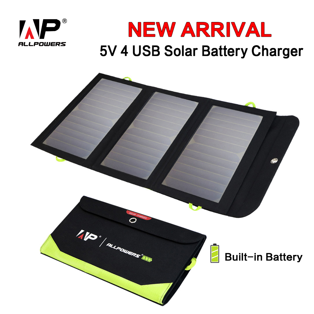 ALLPOWERS Solar Charger 5V 21W Built-in 6000mAh Battery Portable Solar Cells for iPhone 5 6 6s 7 8 X iPad Samsung Xiaomi Huawei 6000mah mobile external power source battery charger w touch control for iphone samsung more