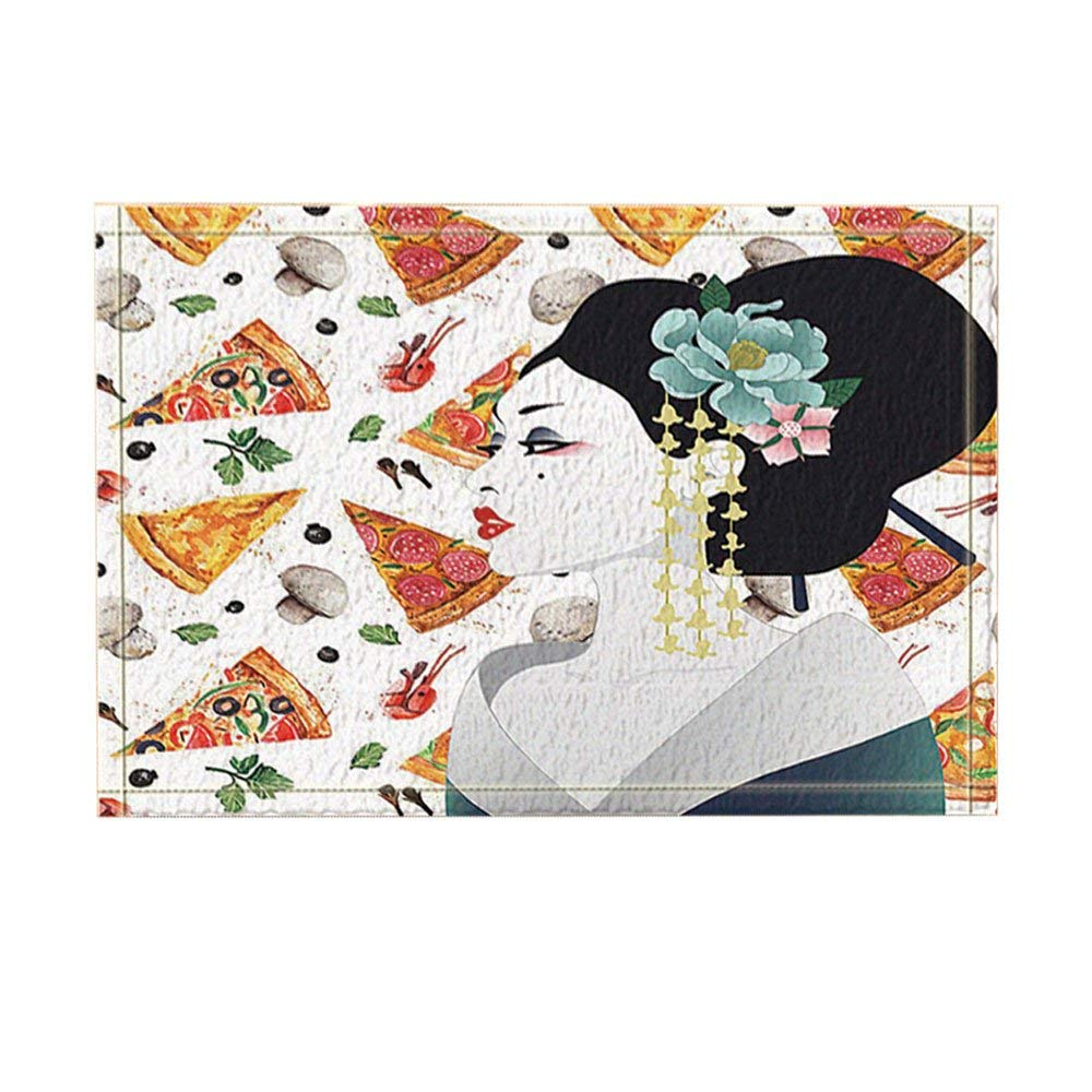 Asian Decor, Japanese Asian Woman on Pizza Background Bath Rugs, Non Slip Funny Indoor Outdoor Doormat