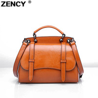 Genuine Leather Summer Small Women Tote Bags Woman Handbags Second Layer Oil Wax Leather Female Bags