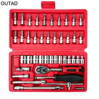 New Hardware Car Repair Tool 46pcs Box Socket Set Ratchet Torque Wrench Combo Tools Kit Auto