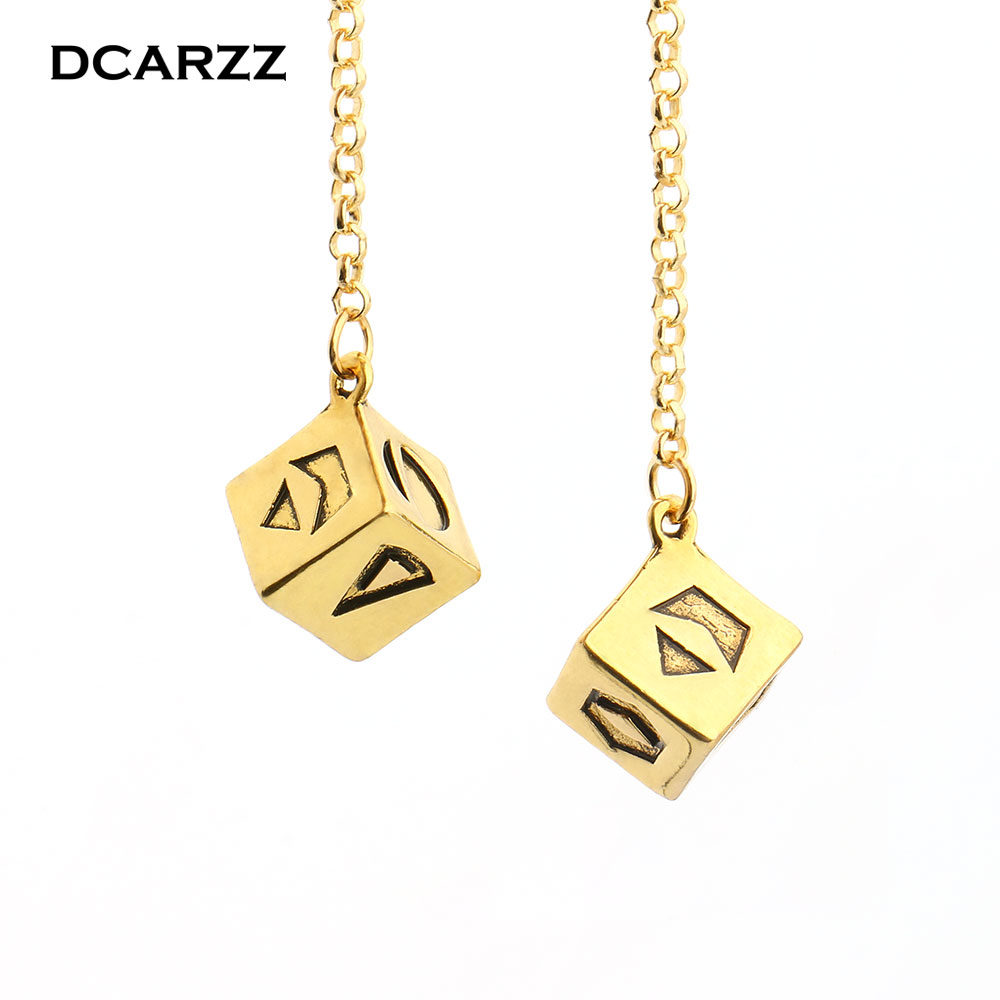 Newest Big Antique Gold Color Han Solo Lucky Dice Prop,1.25 cm Dice with Link Chain Bracelet Star Wars Car Mirror Ornaments