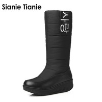 Sianie Tianie 2019 New high quality fur snow boots women super warm down wedges high boots female shoes woman black white red