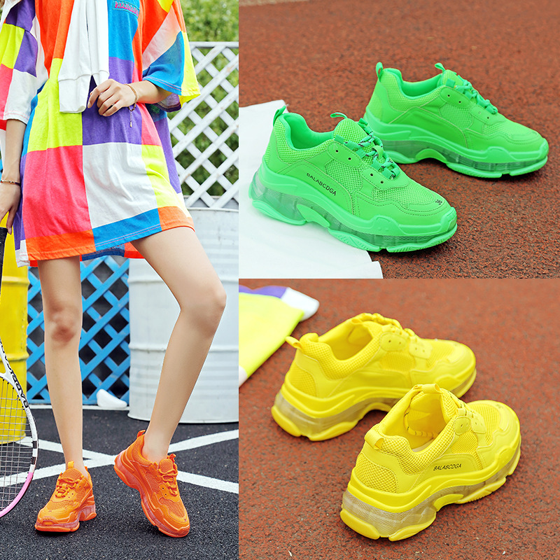 Hommes femmes Designer chaussures cristal Tenis Feminino Chunky baskets Air coussin chaussures baskets chaussures femme baskets jaune/vert