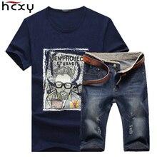 Новинка 2017 года летние джинсовые шорты брендовая одежда футболки и шорты мужские (Футболки-топы + шорты) Homme спортивной 2 единицы комплект мужской шорты