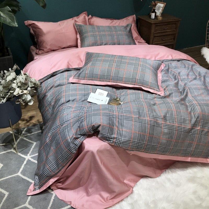 60S Египетский хлопковый клетчатый Комплект постельного белья, 4 шт., Королевский размер, Шелковый домашний комплект постельного белья из хло... - 2