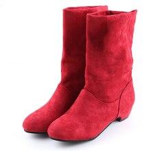 2019 Otoño Invierno botas de mujer de media pantorrilla Martin botas de marca de moda para mujer de tela elástica de algodón botas deslizantes zapatos planos zapatos de mujer