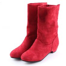 2019 jesienne buty damskie zimowe połowy łydki Martin buty marka moda kobieta elastyczny bawełniany materiał Slip-on buty płaskie buty kobieta tanie tanio GAOKE Cotton Fabric Rzym Stałe women s boots Dla dorosłych Mieszkanie z Podstawowe Elastycznej tkaniny Okrągły nosek
