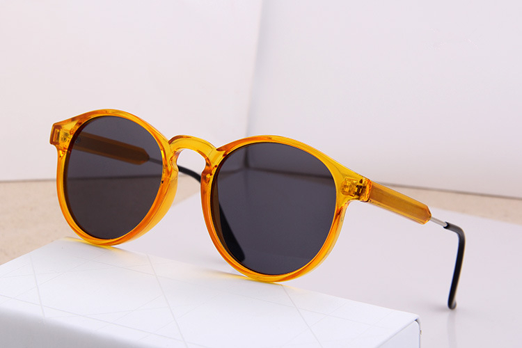 european big brand designer trendy men women transparent yellow round frame sunglasses vintage shades summer outdoor eye glasses in sunglasses from womens - Yellow Frame Sunglasses