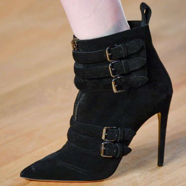 Buckle Strap Women Ankle Boots Casual Woman High Heels Western Boots Side Zip Winter Women Shoes fashion short booties suede soft leather patchwork belt buckle side zip spike high heels ankle boots royston boots women shoes