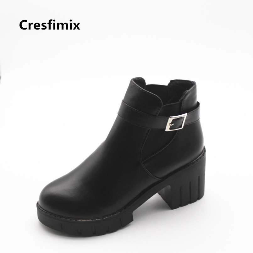 Cresfimix women casual black pu leather boots with buckle strap lady cute high heel motorcycle boots botas femininas female boot cresfimix sapatos femininas women casual black spring