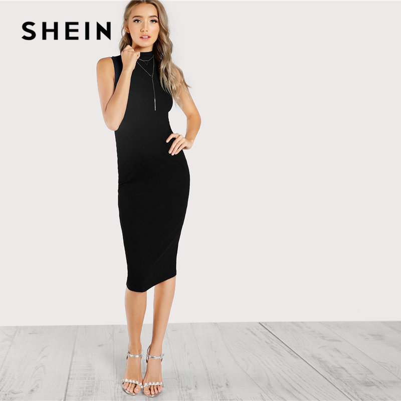 SHEIN Black High Neck Rib Knit Sleeveless Knee Length Natural Waist Pencil  Bodycon Dress Women Summer 2ffb29875d65