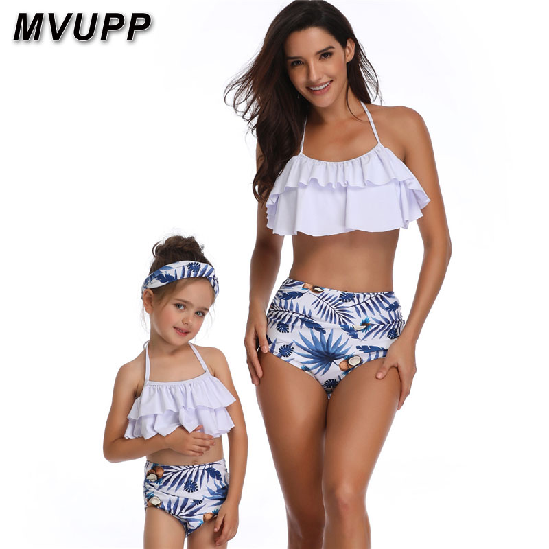 d1196a2fef 2019 MVUPP Mother Daughter Swimsuits Flower Mommy And Me Swimwear Bikini  Matching Clothes Family Look Mom