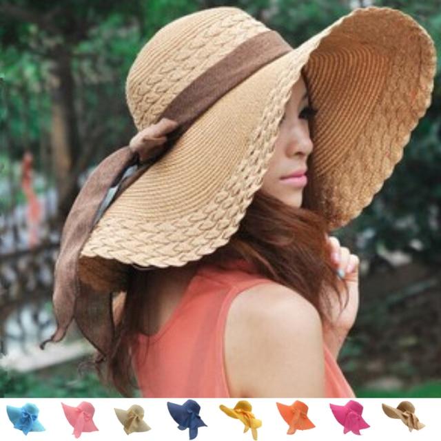 HOT Style summer large brim straw hat adult women girls fashion sun hat uv  protect big bow summer beach hat bf348f098390
