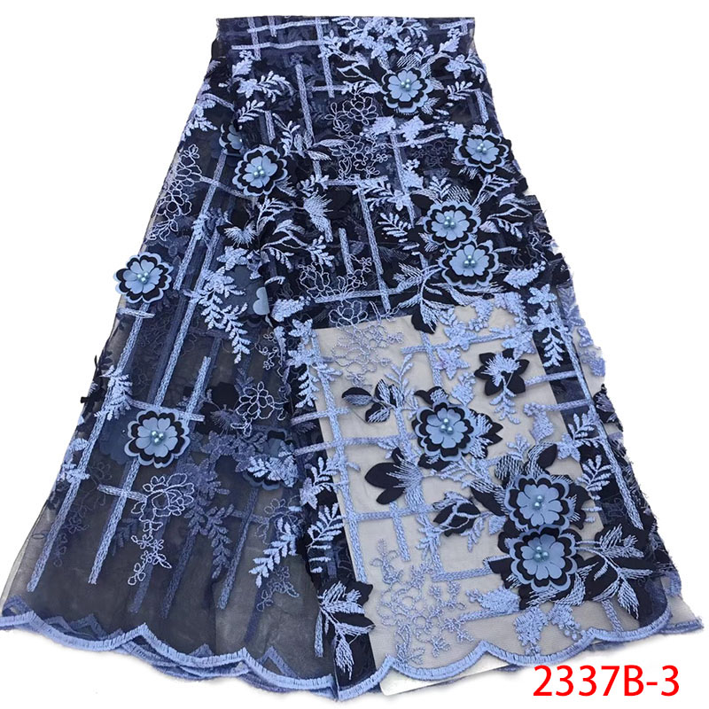 New Designs 3D Flowers Lace Fabric African French Tulle Lace Fabric with Beads Nigerian Lace Fabric