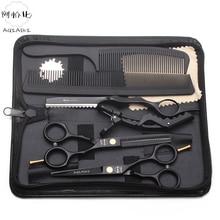 """Костюм 5,"""" AQIABI Черные ножницы для стрижки Парикмахерские принадлежности ножницы для резки филировочные ножницы Профессиональные ножницы для волос A1104"""