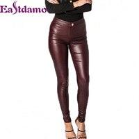 Eastdamo Slim PU Leather High Waist Women Pants Black Skinny Capris Leggings Plus Size Sexy