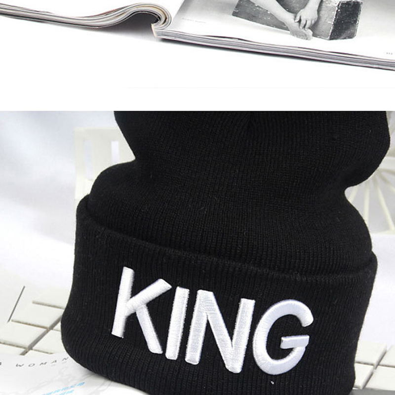 325b669aee45 King Queen Beanie Winter Hats Cap Men Women Stocking Hat Beanies Knitted  Hiphop Hat Female Couple Warm Winter Cap BLACK HO981612-in Skullies &  Beanies from ...
