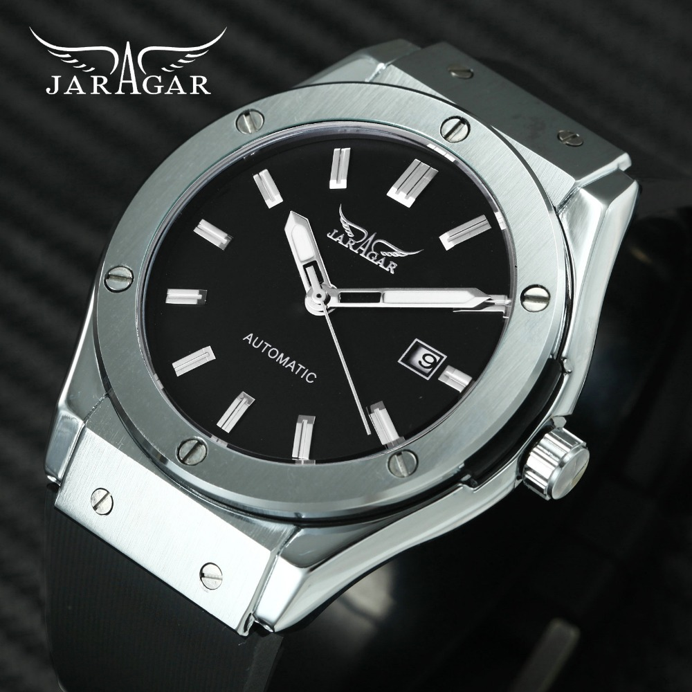 JARAGAR Sport Casual Men Auto Mechanical Watch Rubber Strap Black Dial Calendar Date Fashion Minimalist Design