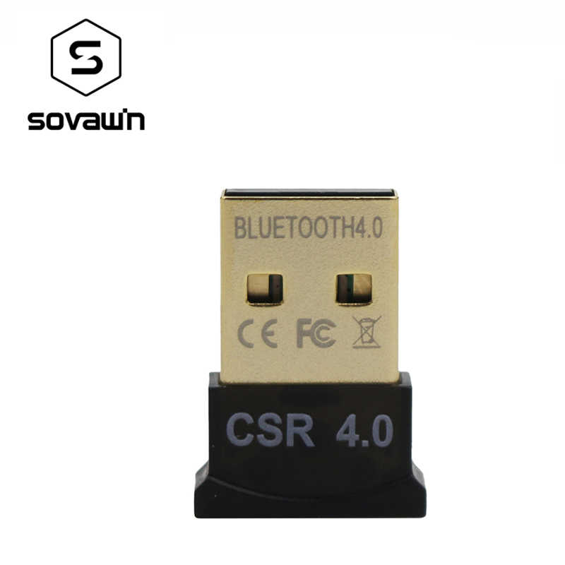 Sovawin Wireless Adapter CSR Bluetooth 4.0 3Mbps Mini Dongle Dual Mode Music for PC Computer Laptops Windows 7 XP