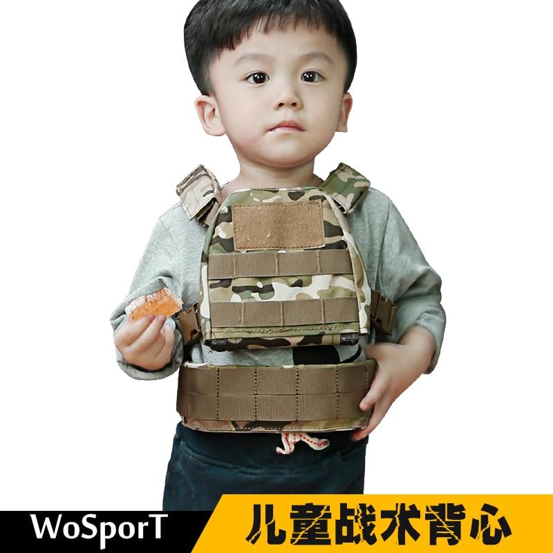 WoSporT Mini Airsoft Children Tactical Vest Molle XS/S Kids Tactical Protect Vest Camo Children Vest 1000D