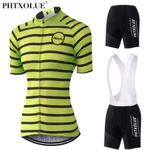 Phtxolue 2017 Team Maillot Cycling Clothing Women Green Breathable Bicycle Bike Clothes Wear Kit Jersey Set