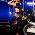 Черный Комбинезон Мода Комбинезон боди Комбинезон комбинезоны женские комбинезон Сексуальный Эротическое Латекс Комбинезон Ползунки W6695