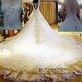 Real Sample Luxury Wedding Dress 2015 Rhinestones Crystals Lace Bridal Gowns Princess Royal Train Custom Vestido de Casamento