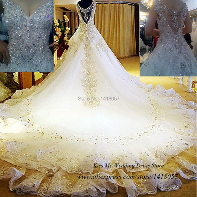Real Sample Luxury Wedding Dress 2015 Rhinestones Crystals Lace Bridal Gowns Princess Royal Train Custom Vestido