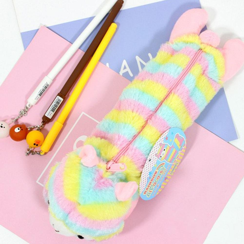 Adeeing Beautiful rainbow Alpaca pencil case cute plush doll pencil bag desktop organizer pencil bag d18|Pencil Bags| |  - title=
