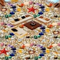 Free Shipping Custom Colored Stone Shells Starfish 3D Stereo Floor Mural Shopping Mall Corridor Bathroom Self
