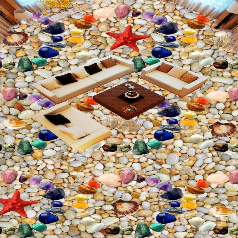 Free Shipping custom Colored stone shells Starfish 3D stereo floor mural shopping mall corridor bathroom self-adhesive wallpaper