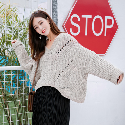 Spring Autumn winter womens wear new sweater knitted sleeve pullover hollowing batwing sleeve V-neck sweet girl cloth 261 YYFS