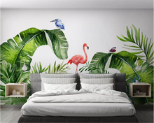 beibehang Custom size Nordic tropical plants flamingo background 3d wallpaper mural decorative painting wall papers home decor