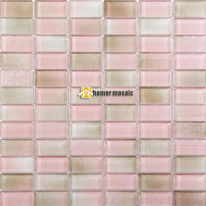 rosa claro hmgm2078 para backsplash de la cocina azulejos de mosaico de vidrio de cristal tira