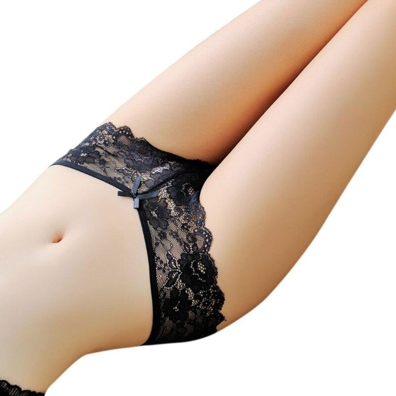 Женское соблазнительное кружевное трусики выдалбливают назад нижнее белье с бантами крест накрест нижнее белье