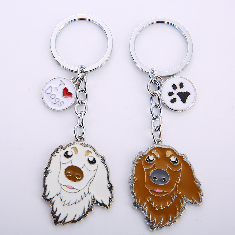 Dachshund Pet Dog Keychains Metal կախազարդ մեքենայի - Նորաձև զարդեր - Լուսանկար 3