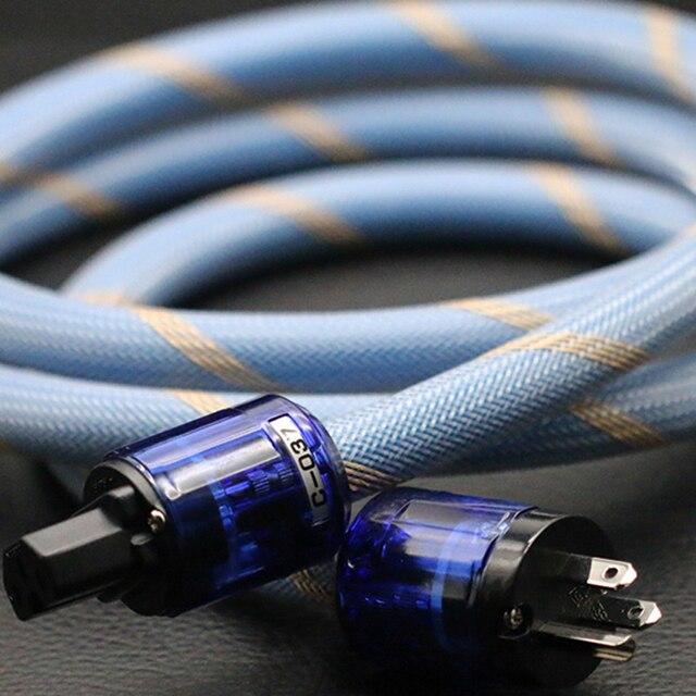 $ US $26.25 Hi-End P-037E/P-037 EU/US power plug IEC connector AC power cord Hifi audio  SPX-28 OCC Silver plated bulk power cable