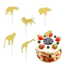 10pcs Baby Birthday Cake Topper Glitter Cupcake Toppers Cake Insert Card Fruit Dessert Decor for Baby Showers Birthday Party