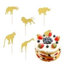 10pcs 아기 생일 케이크 토퍼 반짝이 컵케익 Toppers 케이크 삽입 카드 과일 디저트 장식 아기 샤워 생일 파티