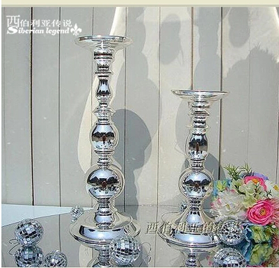 Modern Iron single light candle holder silver candelabra wedding candlestick farolillos decoration for wedding decoration ZT107