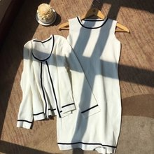 Small sweet wind two-piece bump of new fund of 2016 autumn color vest dress + cardigan knitting suit small jacket skirt